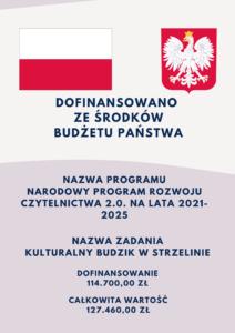 plakat z informacją o dofinansowani ze środków budżetu państwa